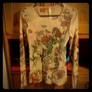 Womens long sleeve transparent shirt.